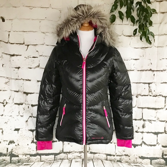 6741e5c54373f Free Country Jackets & Coats | Girl Black Down Filled Puffer Jacket ...